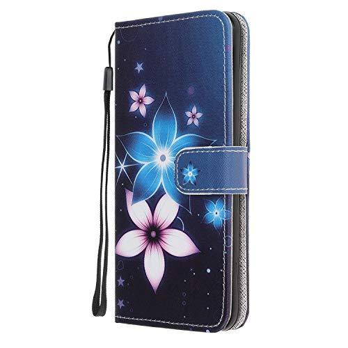 Nadoli Coloré Peint Bleu Fleur Désign Housse Coque en Cuir avec Magnetique Premium Fonction de Support Flip Case Portefeuille Etui pour Samsung Galaxy A51