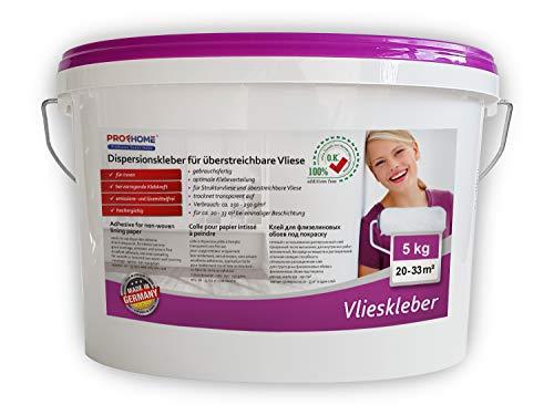 PRO[f]home® - Vlieskleber Fertig-Kleber für Malervlies Renoviervlies Anstrichvlies Vlies Gewebe-Tapeten 5 kg max 33 qm