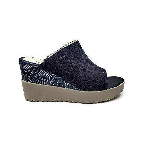 Stonefly Ely 4 210762 Sandales pour femme Sabot Zeppe Bleu - - Indigo Blu, 38 EU EU