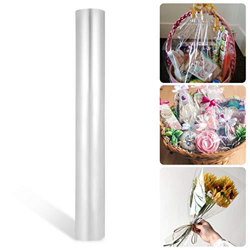 STOBOK Rollo de envoltura de celofán transparente de papel protector Rollo de envoltura de película de embalaje para manualidades de flores / 40x3000cm-0.025mm