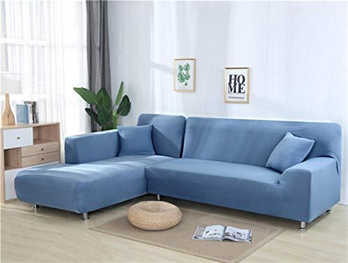 XCVBSofa Cover Sofa Stretch Couch Cover Kussenovertrekken voor de woonkamer Effen kleur Elastische Sofa Cover voor L-vormige hoekbank Chaise Longue, grijs blauw