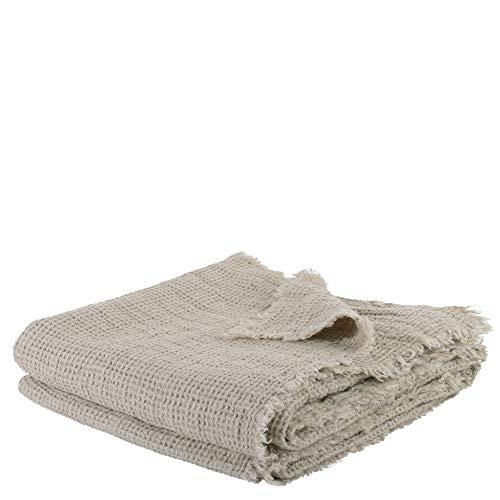 Honeybee-Plaid – weiche Decke aus Leinen – einfarbig gewebtes Plaid mit Fransen aus Naturmaterialien – 170x230 cm – 090 clay – von 'zoeppritz since 1828'