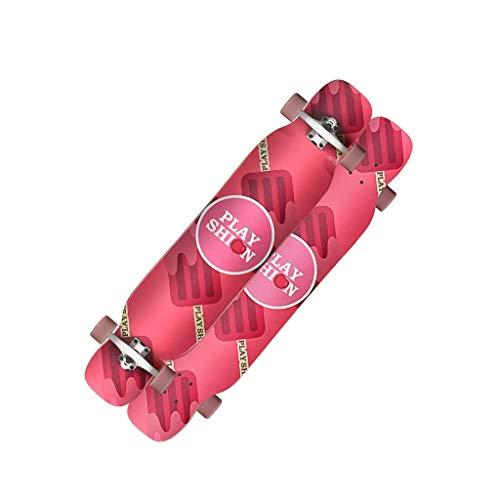 WENYAO Skateboards Female Growth Board Professional Skateboard Student Erwachsener Anfänger Vierrädriges Skateboard - Pink Doppelseitiger Druck
