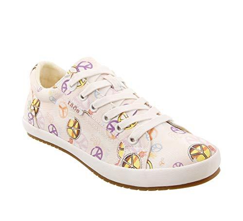 Taos Footwear Women's Star Pink/Yellow Peace Print Sneaker 7 M US