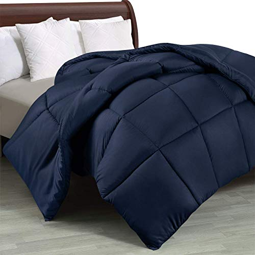 Utopia Bedding Duvet 10.5 tog with Corner Tabs - Plush Siliconized Fiberfill, Box Stitched Down Alternative Duvet (220 x 240cm, Navy)