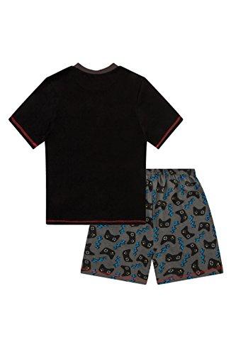 The Pyjama Factory Boys Eat Game Sleep Controller Short Pyjamas , 12-13 Years, Black