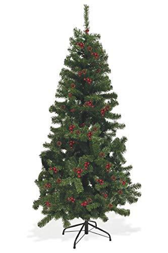 Galileo Casa Sestrier con piñas y Bayas árbol de Navidad 180 cm, Verde, Medidas: h