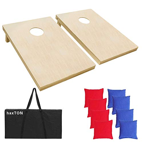haxTON Cornhole Boards Premium Cornhole Sets Classic Wood 32/Wood 42 Cornhole Games for Kids & Adult with 8 Bean Bags and 2 Cornhole Games(Tailgate Size and Regulation) (Solid Wood 3'2')