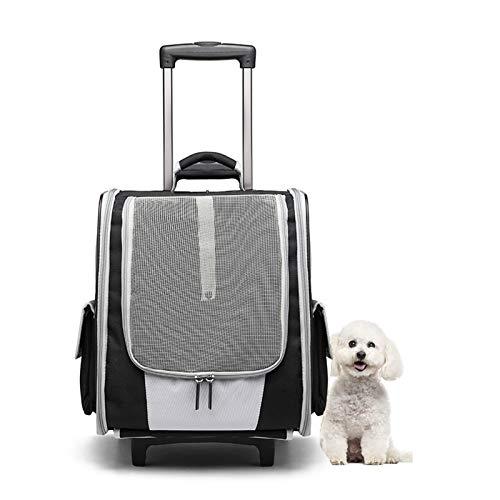 HyiFMY Mochila de Trolley de Perro, Mochila de Rodillos para Mascotas con Carro y Mango telescópico, para Perro Gato Mascotas Viaje Ciclismo de Viaje al Aire Libre