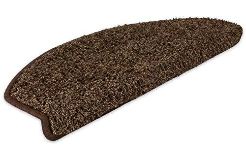 Kettelservice-Metzker Stufenmatten Stufen Teppich Shaggy Queens halbrund Kaffeebraun 20 Stück