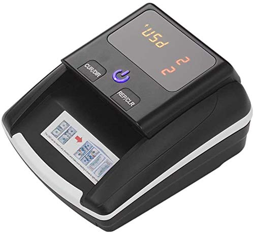 Contador de billetes automático portátil pequeño y simple,Detector de billetes falsos Contador portátil Contador de dinero Efectivo con detector de billetes falsos UV MG IR adecuado para USD o EUR