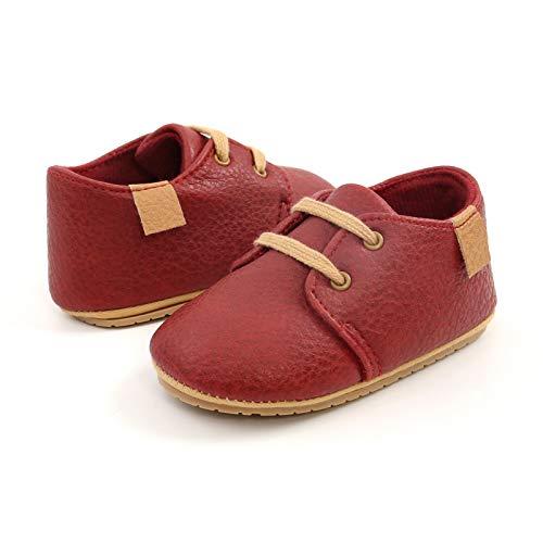 RVROVIC Zapatillas de deporte antideslizantes Oxford mocasines planos para bebé niño pequeño PU cuero suave suela zapatos de bebé, rojo (rojo (3-red)), 6-12 meses