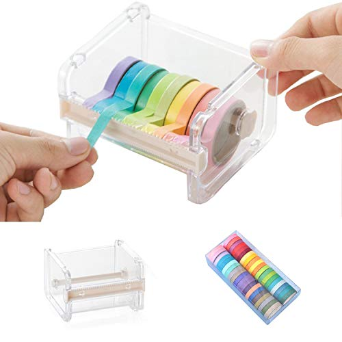 Juego de 40 rollos de cinta Washi con cortador de cinta Washi, cinta Washi de 7.5 mm colorida, decorativa y escribible, para manualidades, decoración y embalaje de regalos