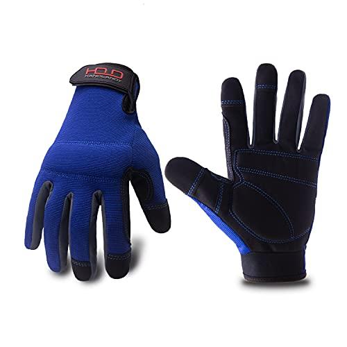 Mens General Utility Light Work Gloves, Mechanic Gloves Touchscreen for Men, Light Duty Safety Work Gloves (Large, Blue)