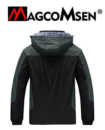 MAGCOMSEN Mens Winter Fleece Jacket Warm Breathable Mulit Pockets Jackets Windproof Work Mens Waterproof Jacket with Detachable Hat Black