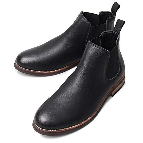 glabella グラベラ チェルシー ブーツ サイドゴア メンズ ウエスタン カジュアル ハイカット 黒 ダークブラウン シューズ glbb-155-M-BK サイズ:M(26.0cm-26.5cm) ブラック ※返品不可