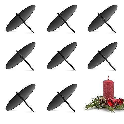 8X Kerzenhalter Advent Kerzenteller Adventskranz Metall, Kerzenstecker für Weihnachten - 8 cm/6cm -Silber/Schwarz