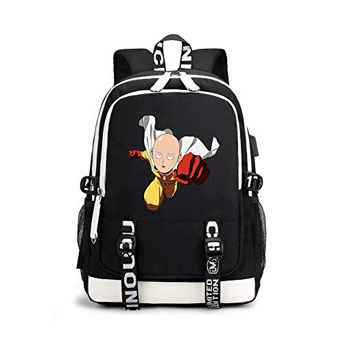 One Punch Man Casual Backpack High Quality Vintage Casual Canvas Backpack Travel Rucksack Satchel Backpack Camping Backpack for Men Unisex (Color : Black03, Size : 30 X 15 X 43cm)