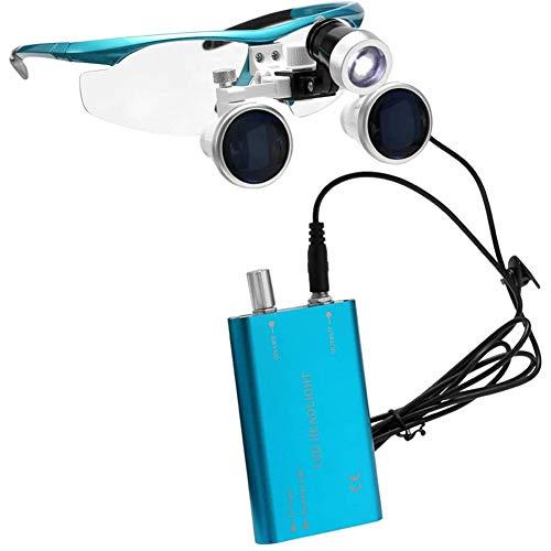QX Espectáculo de Diadema de Lupa quirúrgica Lupa 3.5x420mm Vidrio óptico con LED Linterna Lámpara Lectura para Hobby Electrician Jewelers Costura Reparación y Ancianos