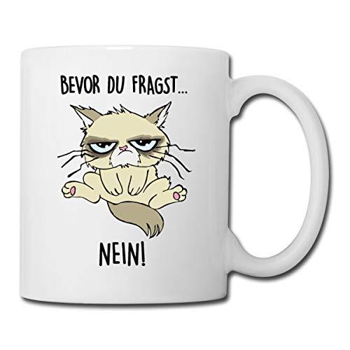Bevor Du Fragst Nein Katze Tasse, Weiß