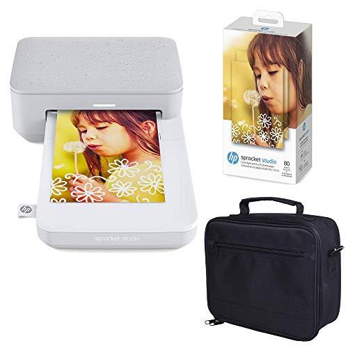 HP Sprocket Studio Imprimante Photo instantanée 4 x 6 Pouces (Blanc) Paquet de Papier Photo