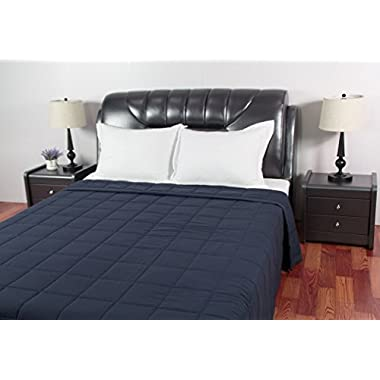 Sunstyle Home Microfiber Quilted Blanket (04513A) Down Alternative Blanket, Ultra Soft Lightweight Blanket Warm Microfiber All Season Blanket for Bed or Couch, Queen, Navy
