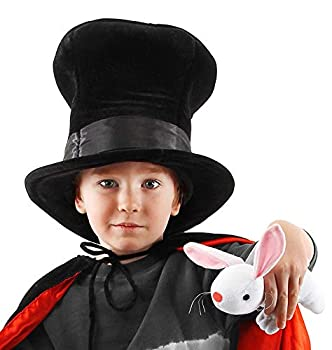 Magician Plush Costume Top Hat with a Secret Pocket and Stuffed Toy Rabbit for boys and girls