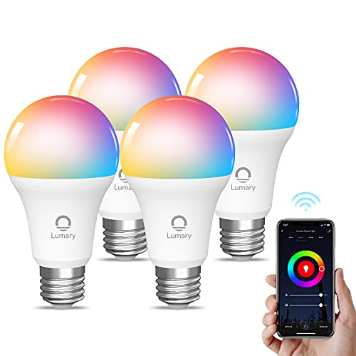 Bombilla LED Inteligente WiFi, Lumary E27 Multicolor Bombilla LED 800LM RGBW 2700K-6000K, 9W Lámpara Regulable WiFi Compatible con Alexa, Google Home, App Control(4PCS)