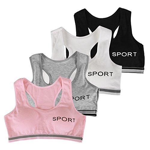 LAEMILIA Mädchen Klassische BHS Underwear Bustier ohne Bügel Büstenhälter Unterwäsche Damen Bra Sport BH Sporttop Baumwolle 4er Pack (Free Size, 4pcs)