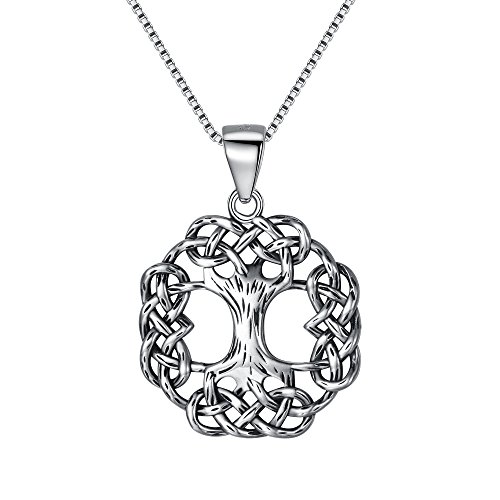 FANZE Tree of Life necklace 925 Sterling Silver Celtic Knot Ancient Round Pendant Necklace Birthday Gift for Women, Box Chain 20'
