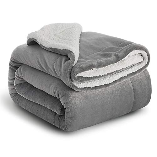 Bedsure Sherpa Blanket Grey Double/Twin Size (150 x 200cm) Fleece Bed...