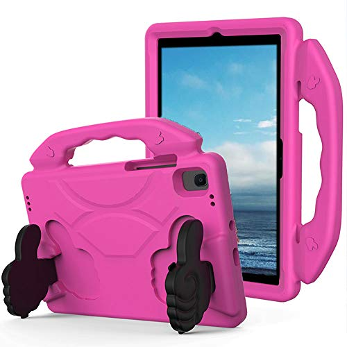 SDTEK Case Compatible with Samsung Galaxy Tab A7 (2020) 10.4 with built in Stand - Strong Rugged Tablet Cover with Carrying Handle Child Friendly (Pink)