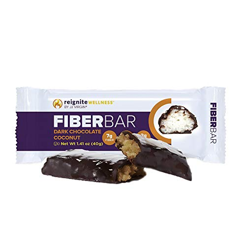 JJ Virgin Dark Chocolate Coconut Fiber Bars - Dairy Free & Gluten Free High-Fiber Supplement Bar - Supports Diet & Weight Management, 7 Grams of Fiber & Healthy MCT Oil (Box of 12)