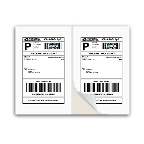 PACKZON Shipping Labels with Self Adhesive, Square Corner, for Laser & Inkjet Printers, 8.5 x 5.5 Inches, White, Pack of 200 Label
