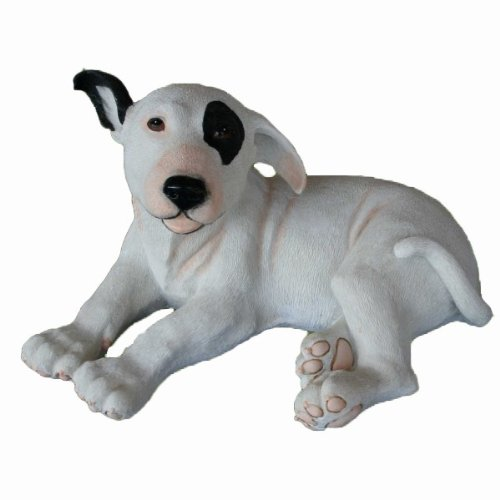 Hundefigur # liegender Pitbull Bullterrier Welpe # Handbemalt für Innen und Außen