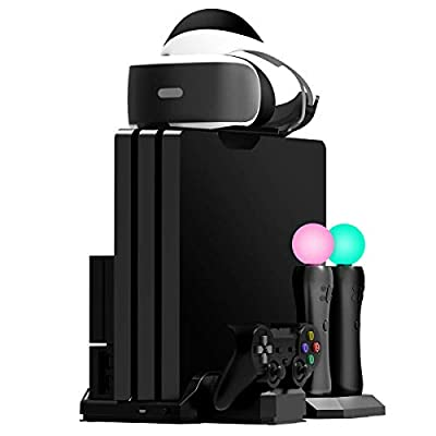 Fisound PS4 Charger & Vertical Game Stand Multi Charging Station Limited Edition, Cooling Fan Cooler, Game Storage Console, PSVR Headset Holder For PS4 / Slim / Pro /PSVR1&2