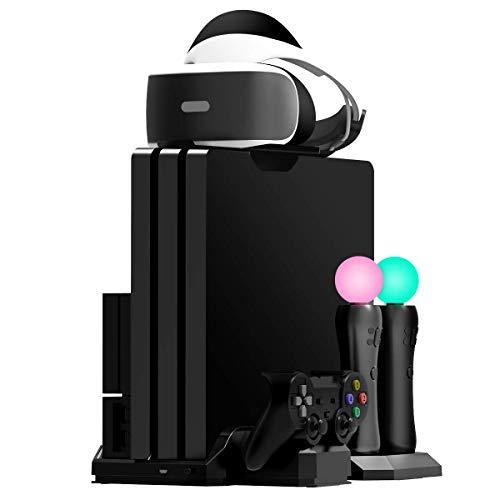 Fisound PS4 Game Stand Cargador y soporte vertical Estación de carga múltiple Edición limitada, Enfriador de ventilador de enfriamiento, Soporte para auriculares PSVR, para PS4/Slim/Pro /PSVR1 y 2