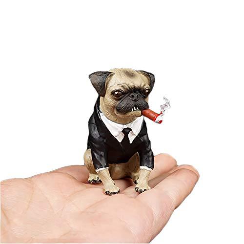 Delili 1/6 Maßstab Anzug Hund Simulation Haustier Hund Men in Black Leder Mops Modell Szene Requisiten Charakter Modell-Kind-Geschenk-Spielwaren