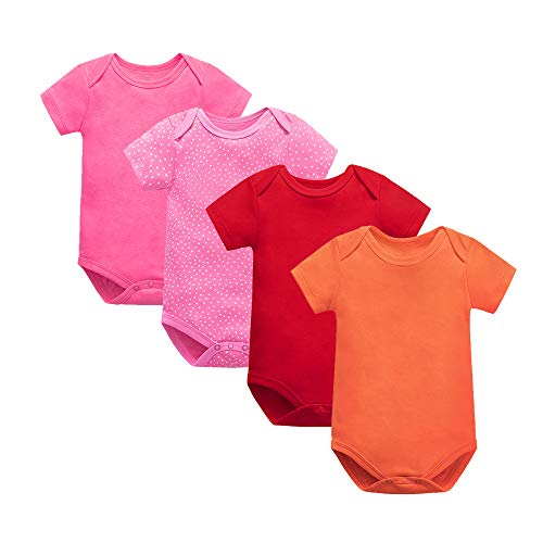 Treer Babykleidung Sommer Junge und Mädchen, 4pcs Spielanzug 100% Baumwolle Strampler Babybody Baby Kurzarm-Body für Neugeborene Weich Short-Sleeve Bodysuits (24m(83-90cm),A)
