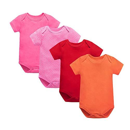 Treer Babykleidung Sommer Junge und Mädchen, 4pcs Spielanzug 100% Baumwolle Strampler Babybody Baby Kurzarm-Body für Neugeborene Weich Short-Sleeve Bodysuits (9m(63-69cm),A)