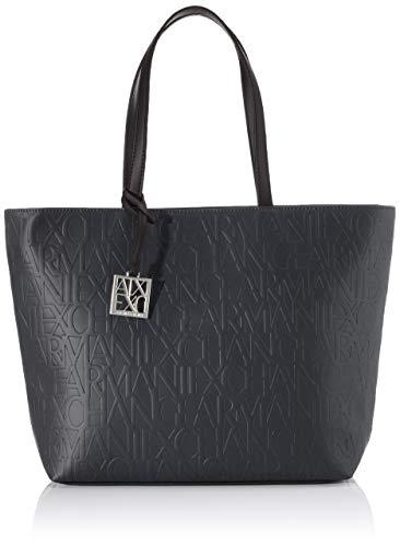 Armani Exchange Damen Liz - Open Medium Shopping Tote Schwarz (Nero - Black)