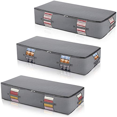 Extra-Large Under Bed Storage Bags Organizer Container[3Pack] Underbed Polyester cloth 210D with Strengthened Handles Large Space Saver Comforters Foldable Under The Bed Storage Bags Breathable with Clear Window