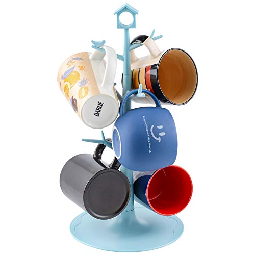 World Backyard 6 Mugs Holder Tree Cups Hanging Stand (Blue with Bird & House Sign)