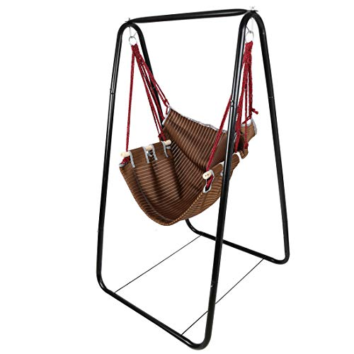 Hyner Rocking hanging swing Set with chair and Metal Frame Stand armrest back support Children Indoor Outdoor 50Kg