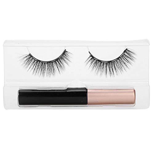 Kit de faux cils sans colle aimant long et épais faux cils ensemble d'outils de maquillage de cils liquide eyeliner magnétique pour la beauté(#002)