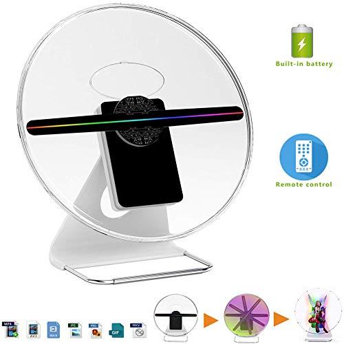QLPP Holographischer 3D-Lüfter, Hologramm-Digitalanzeigefoto / 512P HD-Video für zu Hause, Büro, Unterhaltung und Geschäfte, Fernbedienung mit 160-Grad-Betrachtungswinkel, iDiskk