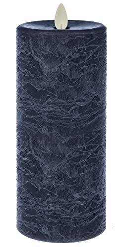 Ganz LED Textured Pillar 7 x 3 inches Wax Flameless Candle with Timer, Blue Marbled