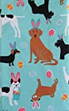 Dogs in Bunny Ears Celebrating Easter Vinyl Flannel Back Tablecloth (60' Round)