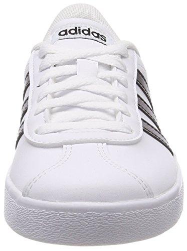 Adidas VL Court 2.0 K, Zapatillas de Deporte Unisex Adulto, Blanco (Footwear White/Core Black/Footwear White 0), 38 2/3 EU
