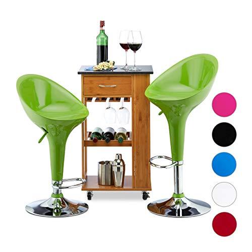 Relaxdays Taburete Alto Cocina Giratorio, 2 Unidades, hasta 120 kg, Reposapiés, Metal-Plástico, 101 x 45 x 40 cm, Verde, Acero